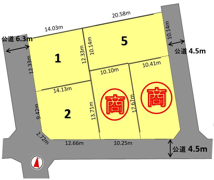 建築条件付土地分譲 瑞穂区岳見町五丁目 販売区画図