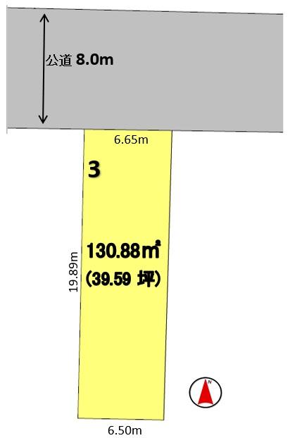 建築条件付土地分譲 西区城西二丁目 販売区画図