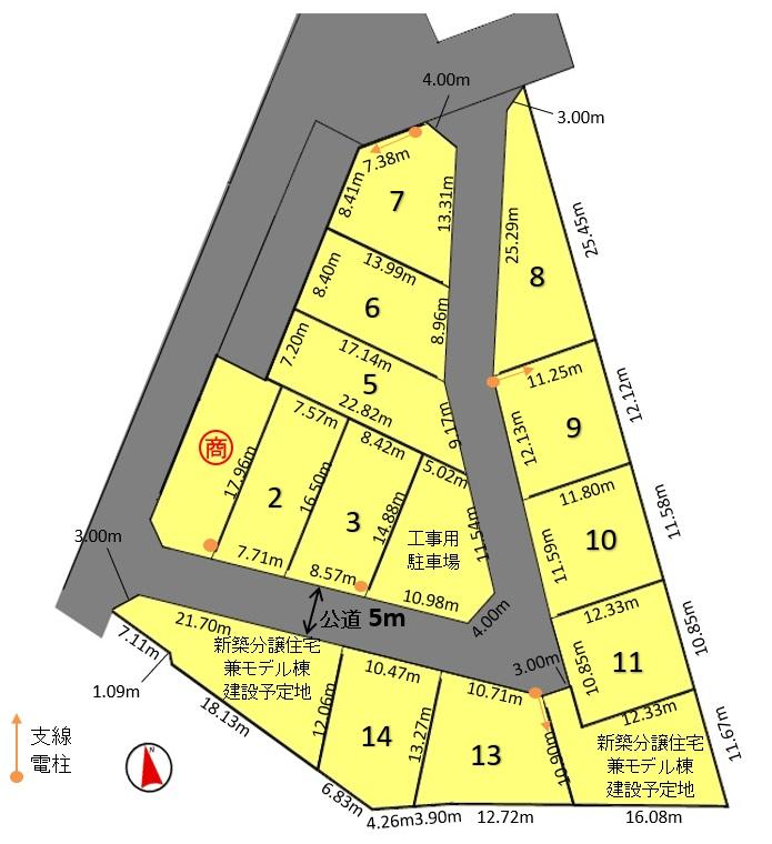 建築条件付土地分譲 知立市新林町新林 販売区画図